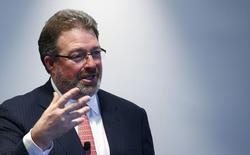 Jim Smith, directeur général de Thomson Reuters. Le groupe affiche une hausse de 1% de son chiffre d'affaires au troisième trimestre grâce à la croissance de ses activités d'informations juridiques, fiscales et comptables. /Photo prise le 14 octobre 2014/REUTERS/Ralph Orlowski