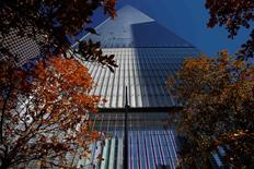 A street level view of the One World Trade Center tower in New York, November 3, 2014. REUTERS/Mike Segar