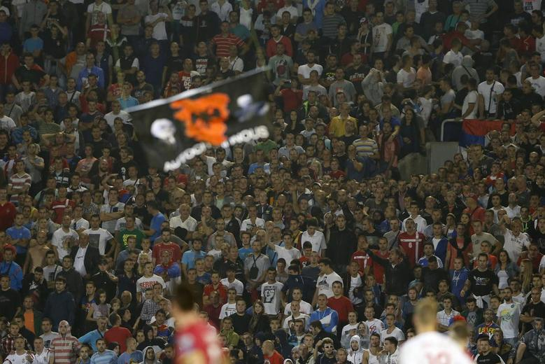 Fans of Serbia react as a flag depicting so-called Greater Albania, an area covering all parts of the Balkans where ethnic Albanians live, is flown over the pitch during their Euro 2016 Group I qualifying soccer match against Albania at the FK Partizan stadium in Belgrade October 14, 2014. REUTERS/Marko Djurica