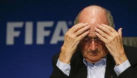 Presidente da Fifa, Joseph Blatter, durante coletiva de imprensa em Zurique. 26/09/2014. Reuters/Arnd Wiegmann