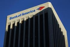 The Bank of America building is shown in Los Angeles, California October 29, 2014.    REUTERS/Mike Blake