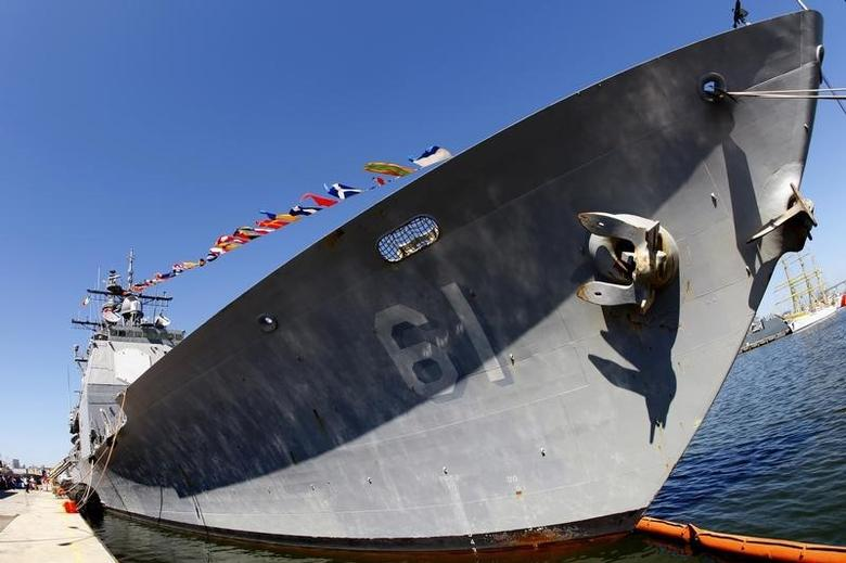 The USS Monterey military vessel is seen docked in the Black Sea harbour of Constanta, 250 km (155 miles) east of Bucharest  June 7, 2011.  REUTERS/Bogdan Cristel