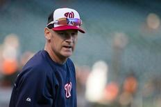 Oct 7, 2014; San Francisco, CA, USA; Washington Nationals manager Matt Williams (9) during batting practice before game four of the 2014 NLDS baseball playoff game against the San Francisco Giants at AT&T Park. Mandatory Credit: Kelley L Cox-USA TODAY Sports