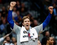 Nov 11, 2014; Dallas, TX, USA; Dallas Mavericks forward Dirk Nowitzki (41) reacts during the fourth quarter against the Sacramento Kings at American Airlines Center. Kevin Jairaj-USA TODAY Sports