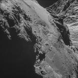 El cometa 67P/Churyumov-Gerasimenko en una fotografía entregada por la Agencia Espacial Europea. La sonda Philae aterrizó con éxito sobre la superficie de un cometa, un hito para la exploración espacial, anunció el miércoles la Agencia Espacial Europea.  /Handout via Reuters  IMAGEN DE TERCEROS, DISPONIBLE SOLO PARA USO EDITORIAL
