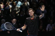 Tomas Berdych of the Czech Republic celebrates winning his tennis match against Marin Cilic of Croatia at the ATP World Tour finals at the O2 Arena in London November 12, 2014. REUTERS/Suzanne Plunkett