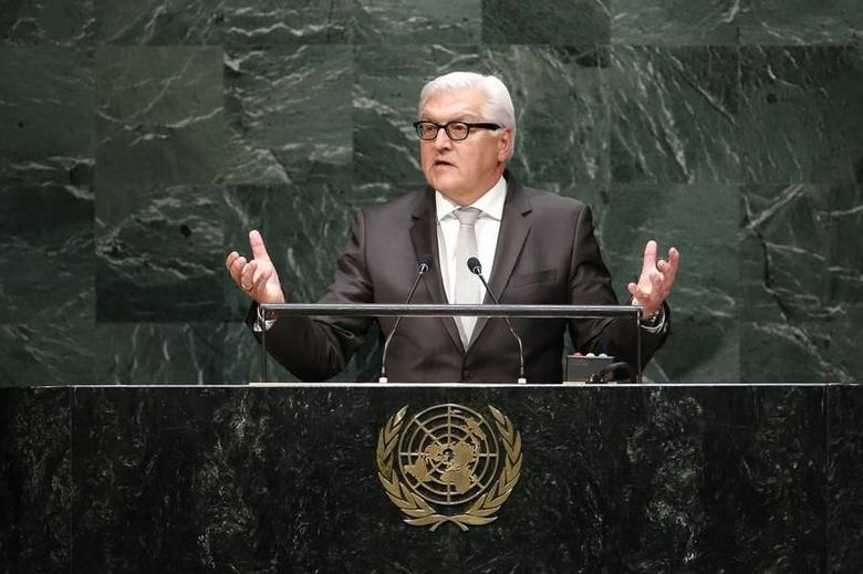 German Minister of Foreign Affairs Frank-Walter Steinmeier addresses the 69th United Nations General Assembly at the U.N. headquarters in New York September 27, 2014. REUTERS/Eduardo Munoz