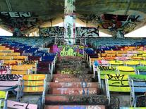Graffiti covers the 6,500-seat Miami Marine Stadium which was built on an island just off downtown Miami, as seen in this picture taken November 13, 2014.    REUTERS/Zachary Fagenson
