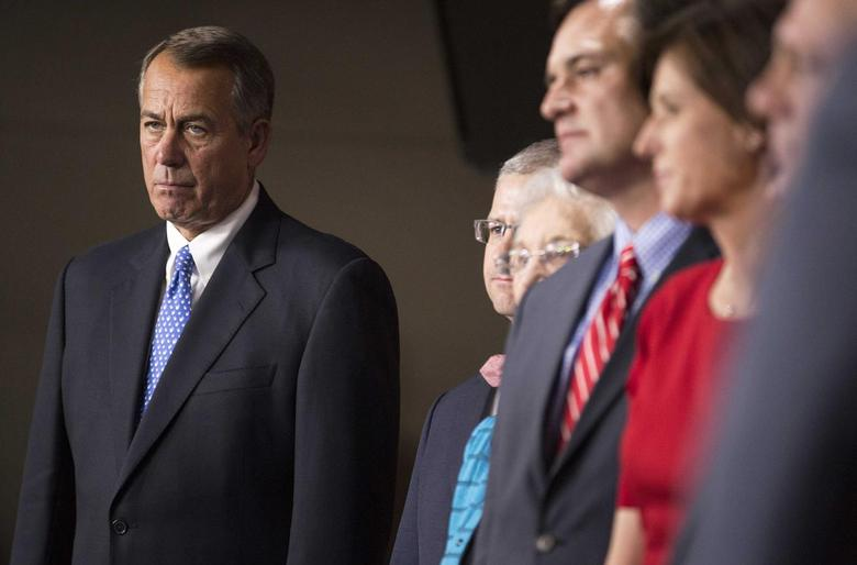 Speaker of the House John Boehner (R-OH), stand with members of his leadership team after a vote for Republican House leadership positions on Capitol Hill in Washington November 13, 2014.     REUTERS/Joshua Roberts