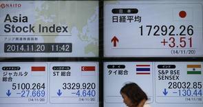 Экран со значениями фондовых индексов азиатских бирж у брокерской конторы в Токио 20 ноября 2014 года. Азиатские фондовые рынки выросли в пятницу под влиянием локальных новостей. REUTERS/Toru Hanai