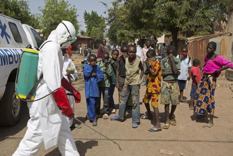 Children watch as a health worker sprays disinfectants outside a mosque in Bamako November 14, 2014.  REUTERS/Joe Penney
