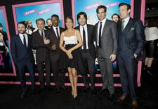 "Cast members Charlie Day (L-R), Christoph Waltz, Jamie Foxx, Jennifer Aniston, Jason Bateman, Chris Pine and Jason Sudeikis pose at the premiere of ""Horrible Bosses 2"" at the TCL Chinese theatre in Hollywood, California November 20, 2014.  REUTERS/Mario Anzuoni"