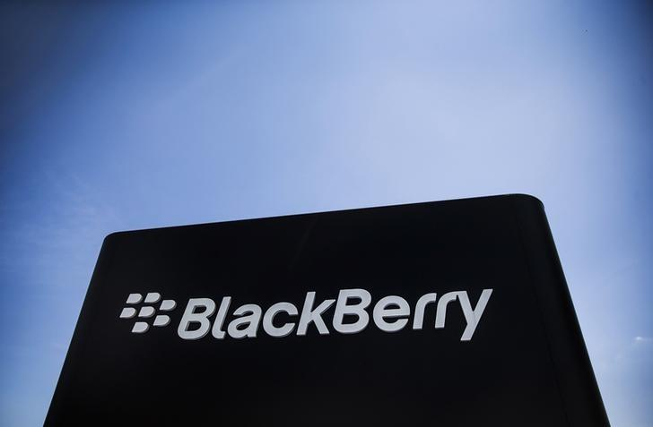 The Blackberry sign is pictured in Waterloo June 19, 2014. BlackBerry Ltd posted a narrower-than-expected loss as the troubled smartphone maker's turnaround efforts started to pay off, raising hopes its chief executive can deliver on a pledge to return the company to steady profits. REUTERS/Mark Blinch