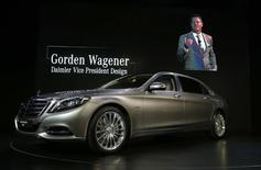 Gorden Wagener, Daimler vice president of design, is shown on screen speaking about the Mercedes-Maybach S-Class.   REUTERS/Lucy Nicholson