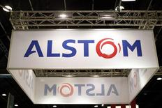 The logo of French power and transport engineering company Alstom is seen at the World Nuclear Exhibition 2014, the trade fair event for the global nuclear energy sector, in Le Bourget, near Paris October 14, 2014.  REUTERS/Benoit Tessier