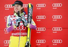 Dec 6, 2014; Beaver Creek, CO, USA; Second place finisher Kjetil Jansrud of Norway on the podium at the awards ceremony after the men's super G in the FIS alpine skiing World Cup at Beaver Creek Ski Resort. Mandatory Credit: Chris Humphreys-USA TODAY Sports