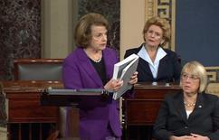 A presidente do comitê de inteligência do Senado dos EUA Dianne Feinstein fala de relatório sobre a CIA no Senado. 09/12/2014.  REUTERS/TV Senado/Divulgação