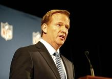 NFL commissioner Roger Goodell addresses the media at a press conference at New York Hilton. Andy Marlin-USA TODAY Sports