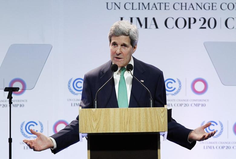 U.S. Secretary of State John Kerry delivers a speech at the U.N. Climate Change Conference COP 20 in Lima December 11, 2014. REUTERS/Enrique Castro-Mendivil