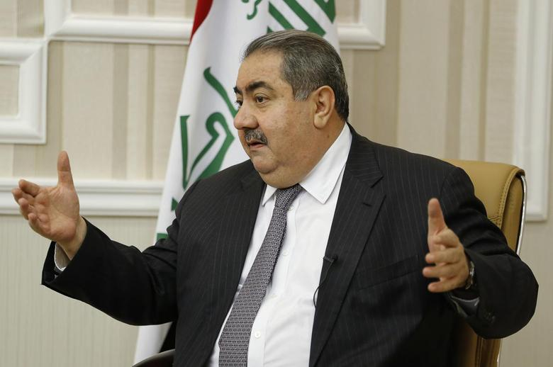 Iraq's Finance Minister Hoshiyar Zebari speaks during an interview with Reuters in Baghdad November 26, 2014. REUTERS/Thaier Al-Sudani