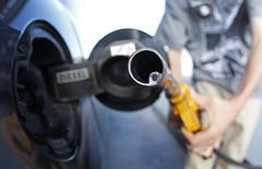 A customer uses a petrol nozzle to fill up his tank in a gas station at a supermarket in Truchtersheim near Strasbourg August 26, 2012. REUTERS/Vincent Kessler