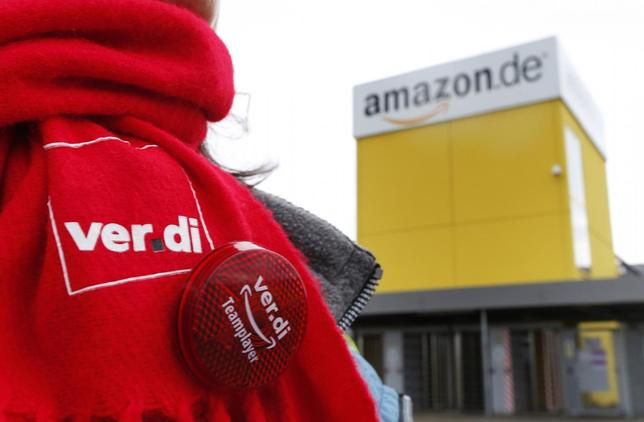 A Verdi union scarf is seen outside the Amazon logistics centre in Graben near Augsburg December 15, 2014. REUTERS/Michaela Rehle