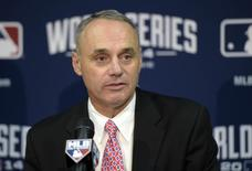Oct 22, 2014; Kansas City, MO, USA; MLB newly elected commissioner Rob Manfred speaks at a press conference before game two of the 2014 World Series between the Kansas City Royals and the San Francisco Giants at Kauffman Stadium.  Christopher Hanewinckel-USA TODAY Sports