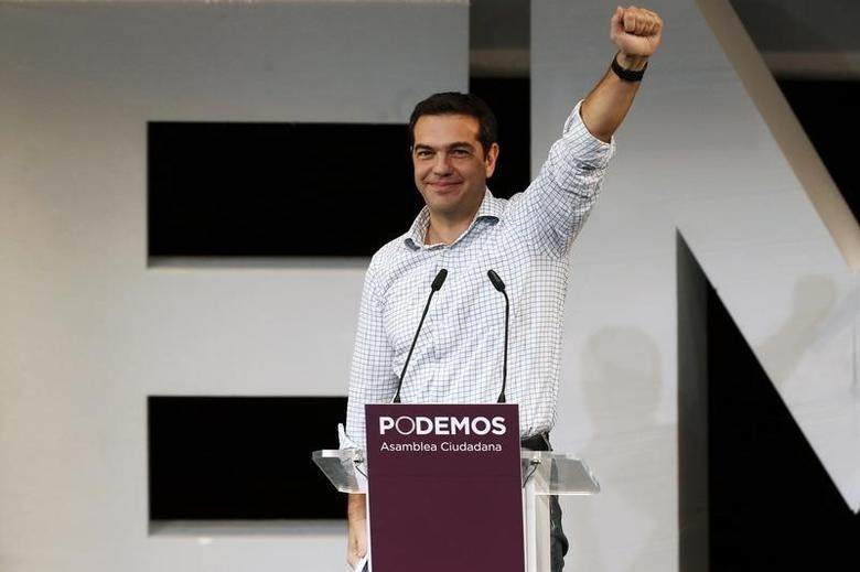 Alexis Tsipras, leader of Greece's Syriza party, gestures during a meeting in central Madrid November 15, 2014. REUTERS/Juan Medina