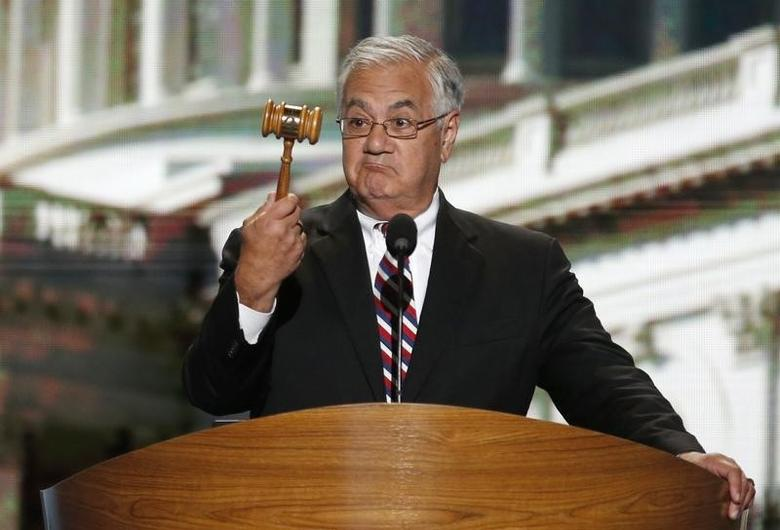 Barney Frank (D-MA) holds the gavel during the final session of the Democratic National Convention in Charlotte, North Carolina September 6, 2012.      REUTERS/Jason Reed