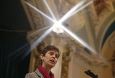 Libby Lane, a suffragan (Assistant) bishop in the Diocese of Chester, speaks after her forthcoming appointment as the new Bishop of Stockport was announced in the Town Hall in Stockport, northern England December 17, 2014. REUTERS/Phil Noble