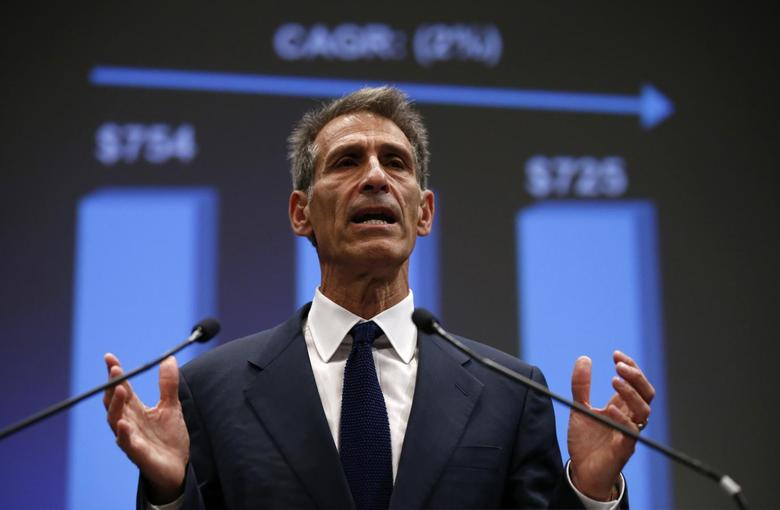 Michael Lynton, CEO Sony Entertainment and CEO and chairman Sony Pictures Entertainment, speaks during an investors' conference at the company's headquarters in Tokyo November 18, 2014. REUTERS/Toru Hanai