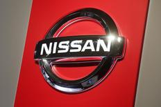 A Nissan logo is seen on media day at the Paris Mondial de l'Automobile, October 3, 2014. REUTERS/Benoit Tessier