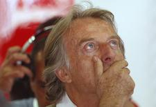 Luca di Montezemolo reacts during the first practice session of the Spanish F1 Grand Prix at the Barcelona-Catalunya Circuit in Montmelo May 9, 2014. REUTERS/Juan Medina