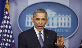 Presidente dos Estados Unidos, Barack Obama, durante entrevista coletiva em Washington. 19/12/2014 REUTERS/Larry Downing