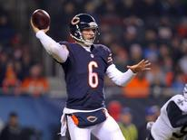 Dec 15, 2014; Chicago, IL, USA; Chicago Bears quarterback Jay Cutler (6) passes during the second half against the New Orleans Saints at Soldier Field. New Orleans won 31-15. Mandatory Credit: Dennis Wierzbicki-USA TODAY Sports