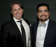 American chefs John Besh (L) and Aaron Sanchez pose in New York May 5, 2014. REUTERS/Howard Childs/Handout via Reuters