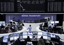 Operadores fotografiados frente a una pantalla electrónica en la bolsa de Alemania, 2 enero, 2015. Un modesto rebote de Año Nuevo en las bolsas europeas rápidamente perdió aire el viernes tras unos débiles indicadores manufactureros de la zona euro. REUTERS/Remote/Stringer