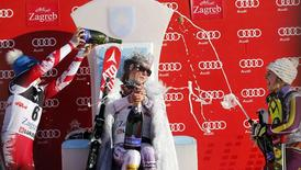 Kathrin Zettel from Austria, Mikaela Shiffrin from the U.S. and Nina Loeseth from Norway (L-R) celebrate on the podium after the World Cup Women's Slalom race on Sljeme in Zagreb January 4, 2015.  REUTERS/Antonio Bronic