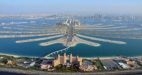 An aerial view of Atlantis hotel is seen with The Palm Jumeirah in Dubai December 21, 2009. REUTERS/Matthias Seifert