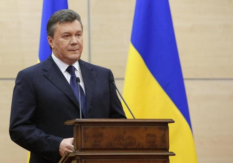 Ousted Ukrainian President Viktor Yanukovich makes a statement during a news conference in the southern Russian city of Rostov-on-Don, March 11, 2014. REUTERS/Maxim Shemetov
