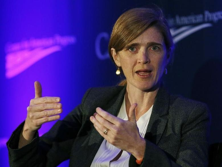 U.S. Ambassador to the United Nations Samantha Power speaks at the Center for American Progress' 2014 Making Progress Policy Conference in Washington November 19, 2014. REUTERS/Gary Cameron