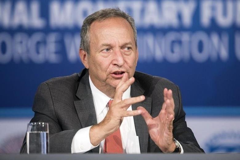 Larry Summers, president emeritus of Harvard University, speaks during a discussion on ''A Reform Agenda for Europe's Leaders'' during the World Bank/IMF annual meetings in Washington October 9, 2014.      REUTERS/Joshua Roberts