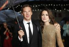 "Actors Benedict Cumberbatch and Keira Knightley pose as they arrive for the European premiere of the film ""The Imitation Game"" at the BFI opening night gala at Leicester Square in London October 8, 2014. REUTERS/Suzanne Plunkett"