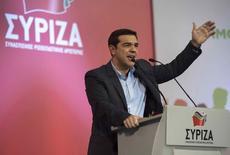 Líder do partido esquerdista radical grego Syriza, Alexis Tsipras, discursa durante comício em Salônica. 20/01/2015 REUTERS/Alexandros Avramidis