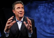 Hall of Fame NFL football quarterback Dan Marino speaks during an interview with Reuters in New York, January 21, 2015.  REUTERS/Mike Segar