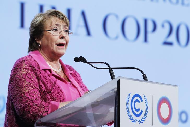 Chile's President Michelle Bachelet delivers a speech during the High Level Segment of the U.N. Climate Change Conference COP 20 in Lima, December 10, 2014.  REUTERS/Enrique Castro-Mendivil
