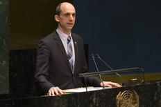 Steven Blaney, Canada's Minister of Public Safety and Emergency Preparedness, addresses the United Nations (UN) General Assembly during a meeting about the rise of anti-Semitism, at the UN headquarters in New York January 22, 2015. REUTERS/Brendan McDermid