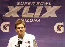 Jan 27, 2015; Phoenix, AZ, USA; New England Patriots quarterback Tom Brady speaks during media day for Super Bowl XLIX at US Airways Center. Mandatory Credit: Matthew Emmons-USA TODAY Sports