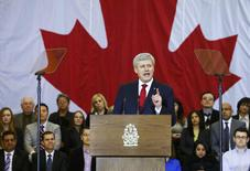 Canadian Prime Minister Stephen Harper speaks at a news conference in Richmond Hill, Ontario, January 30, 2015. REUTERS/Mark Blinch