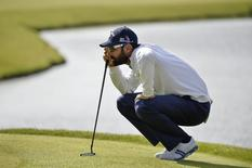 Spain's Alvaro Quiros lines his shot during the third day of the Nordea Masters golf tournament at the Sweden National golf club outside Malmo May 31, 2014. REUTERS/Anders Wiklund/TT News Agency